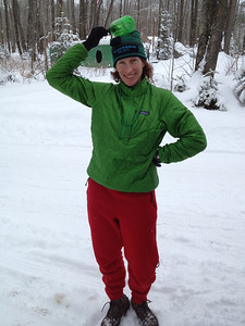 green and red post-ski outfit